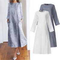 Women Striped Long Sleeve Holiday Plain Party Dress Casual Shirt Dress Plus Size