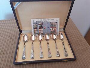 Cucchiaini in Argento 800  - Servizio da 6 pezzi completo di scatola - vintage
