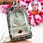 Vintage Somdej Monk Lp Mun Watbanchan Thai Amulet 925 Silver Case White #15272