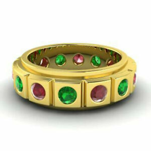 2.00 Carat Real Ruby & Green Emerald Wedding Bands 14K Yellow Gold Size M N O P