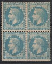 "FRANCE YVERT 29B  SCOTT 33 "" EMPEROR NAPOLEON 20c BLUE 1868 BLOCK 4 "" MH VF M181"