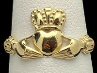 14k Yellow Gold Irish Claddagh Love Friendship Ring Sizes 5-9