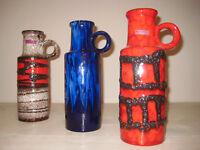 3 original 60s Fat Lava Vase Pottery 60er Jahre Keramik   401-28  Mid Century
