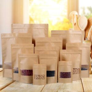 New Resealable Zip Lock Kraft Paper Bag Stand Up Self-adhesive Bags Food Grade