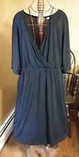 Size 18W/20W Avenue Short Sleeve, Stretch, Basic Black Dress, Knee Length