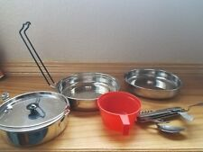 Camping backpack cookware kit with winchester  knife,spoon,fork set.