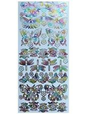 MULTICOLOUR INSECTS Peel Off Stickers Butterflies Dragonflies Ladybirds Flowers