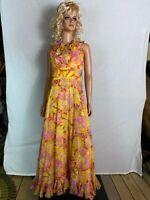 VTG 70s Maxi Long Dress Yellow Pink Floral Sleeveless Ruffled Party Hippy USA  S