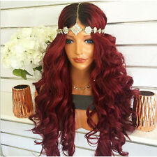 "24"" Heat Resistant Lace Front Wig Synthetic Hair Wavy Ombre 1B/Bug"