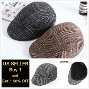 Newsboy Ivy Ascot Cabbie Gatsby Hat Cap Plaid Wool Herringbone Golf Driving