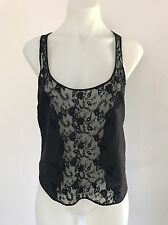 FLEUR WOOD Black SILK & LACE SHELL TOP CAMI BLOUSE size 2