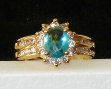 Beautiful & Elegant Yellow Gold Plated Ring With Topaz & CZ  Size 7 (#22)