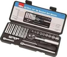 "1/4"" Drive Socket Set Metric 22 PC Kit Ratchet Deep Sockets Extensions - HILKA"