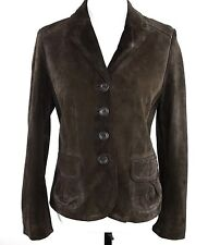 Ann Taylor Womens Jacket  6 Dark Brown Leather Suede Button Down Pockets Lined