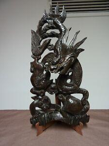 Glück Chinesischer Drache Geschnitzt Holz  Wand Relief Handarbeit