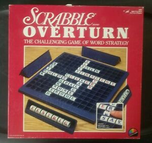 Vintage Scrabble OVERTURN Word Strategy Board Game by COLECO *COMPLETE RARE FIND
