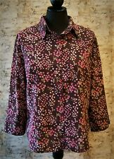 C.P.W. NEW YORK Pink & Brown Floral Blouse Top Shirt~SZ M