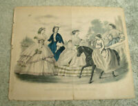 "1860 GODEY'S BOOK FASHION PRINT FOR JULY ANTIQUE VINTAGE ART PRINT 12"" x 10"""