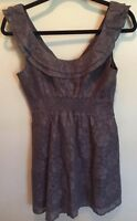 Maeve Anthropologie Dress Sleeveless Gray Floral Lace Size XS