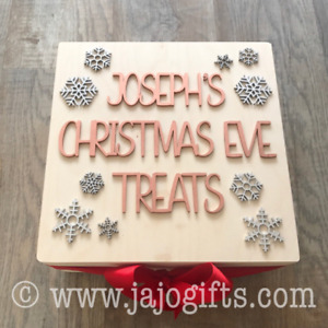 Naked Wood Personalised Christmas Eve Box with Snowflakes