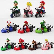 10PC Super Mario Kart Luigi Yoshi Toad DK Pull Back Mini Car & Bike Figures Toys