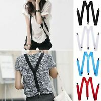 WOMENS & MENS UNISEX SUSPENDERS ADJUSTABLE CLIP ON BLACK WEDDING PARTY - 100 CMS