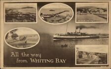 Whiting Bay Uk Multi-View & Steamer c1920s Postcard Stamp Cover
