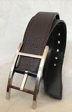 "hermes mens belt Quentin 95 Brn/blk  Reversible Leather Silver Buckle 1.25"" Wide"