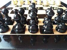 Black travel wooden chess set hazel wood chess piece,beech wood chessboard box