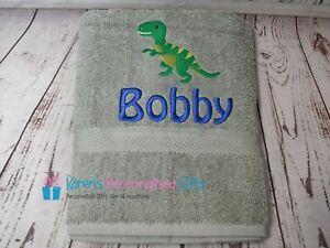Personalised Towel, Grey Kids Swim/Bath Dinosaur Towel, Choice of Colours
