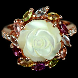 REAL MOTHER OF PEARL TOPAZ TOURMALINE RHODOLITE CZ STELRING 925 SILVER RING 8.25
