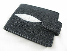 Genuine Stingray Skin Leather Utility Bifold Card Wallet Black + FREE SHIPPING