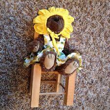 Ty Attic Treasures Susannah Mini Teddy Bear & Hand Crafted Wooden Doll Chair