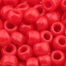 200pcs Barrel Plastic Pony Beads 9x6mm Opaque Red Made in USA 11201005