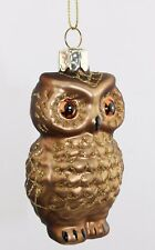 GISELA GRAHAM CHRISTMAS BROWN GLASS OWL WITH GOLD GLITTER  DECORATION
