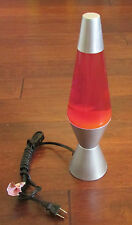 Lava Lamp Yellow Wax With Purple Liquid Silver Satin Base 14.5 Inch