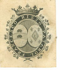 EX-LIBRIS de Francesco RIZZO PATAROL. Naples.
