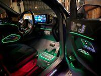 AMG MERCEDES LOGO CAR FLOOR LED MAT 2 PCS MOOD AMBIENT LIGHTING