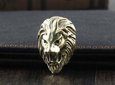 3PCS Screw Back Brass Lion Head Conchos Wallet Purse Bag Saddle Accessary