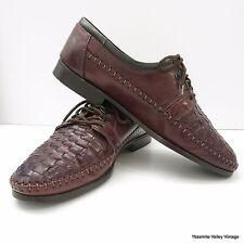 Saxone 43 EU 10 US Brown Woven Genuine Premium Leather Mens Dress Shoes Italy