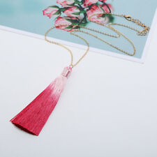 Fashion Women Gradient Colour Tassel Necklace Long Sweater Chain Pendant Jewelry