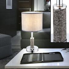 Design Tisch Leuchte Wohn Gäste Zimmer Chrom Strahler Lese Lampe Textil grau