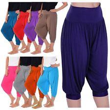 Ladies Plain 3/4 Length Stretchy Baggy Cuffed Hem Ali Baba Harem Trousers Shorts