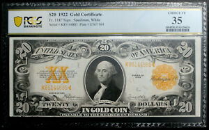 1922 $20 GOLD CERTIFICATE PCGS 35 CHOICE VERY FINE Fr 1187  SPEELMAN WHITE