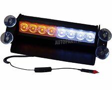 8 LED White Amber Yellow Emergency Vehicle Car Strobe Flash Light Warning Dash