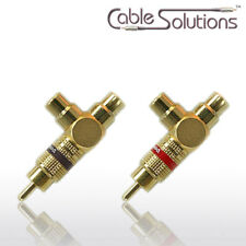 """Vampire Wire #Y - """"Y"""" Adapters 1 RCA male to 2 RCA female all metal gold plated"""