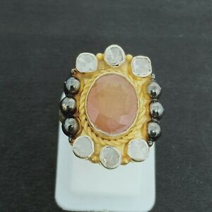 Polki Diamond With Yellow Sapphire Gems Sterling Silver Handcrafted Design Rings