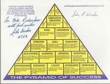JOHN WOODEN autographed 8x11 Pyramid of Success     UCLA basketball coach