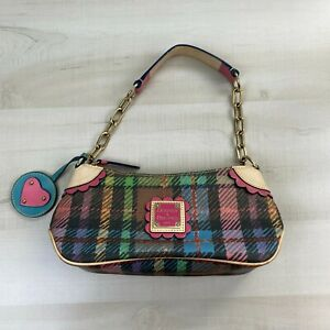 Dooney & Bourke Small Handbag Purse Plaid Rainbow Zipper Chain Strap Pink Blue