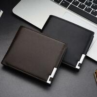 Men's Leather Bifold ID Card Holder Purse Wallet Billfold Handbag Slim Clut NTAT